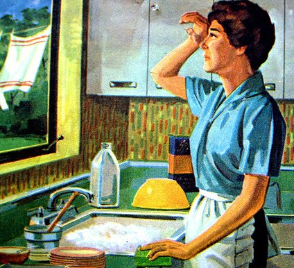 lady washing dishes